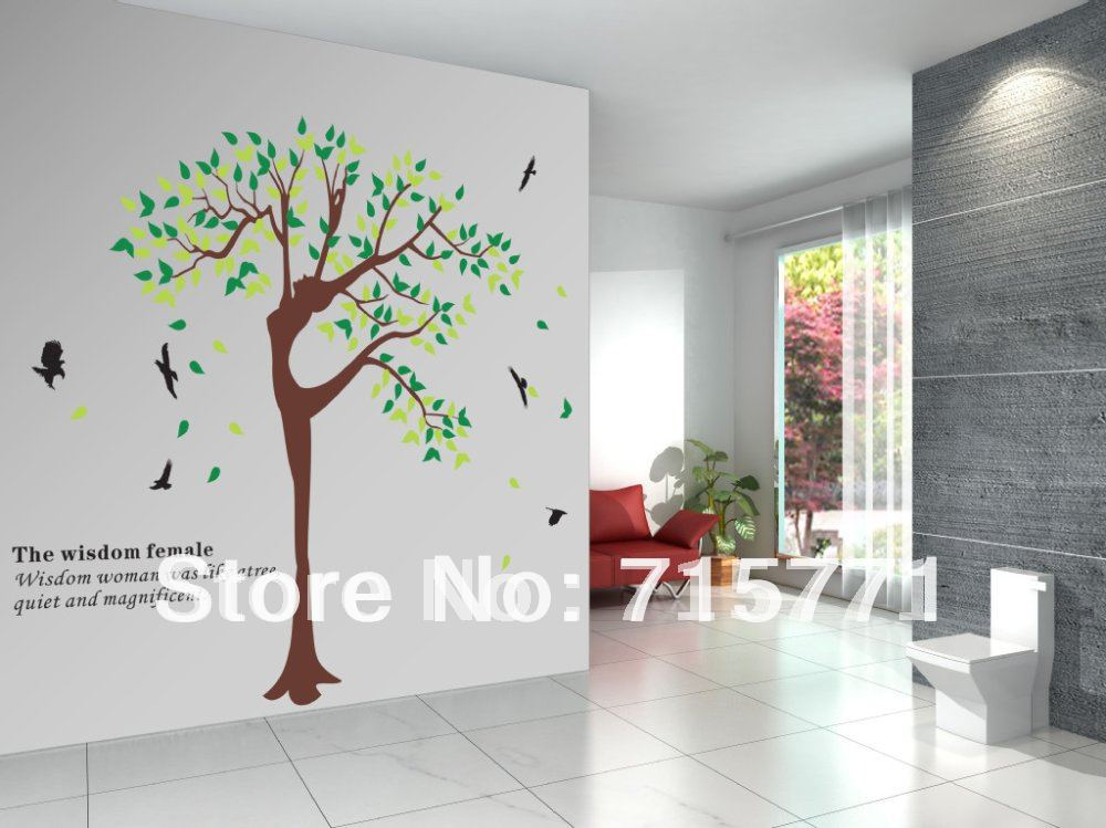 Free shipping removable home sticker dance wall sticker art tree 180cm*230cm mixed design is welcome(China (Mainland))