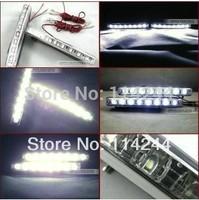 Free Shipping 1 Pair Super White  Car 8 LED Daytime Running Lights Fog DRL Lamp 12V