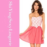 Dipped High Waist Cute Cocktail Dresses Strapless Skater Dress LC2603 chiffon summer dress pink