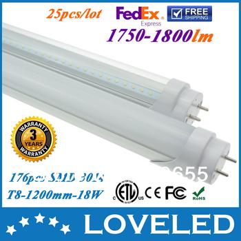CE RoHS ETL cETL LED Tube T8 1200mm 18W Light Bulb Pure White 1800lm 85-265V Aluminum Housing Free Fedex+25pcs