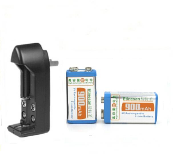 2 pcs Super big capacity 900MAH Li-Ion lithium 9V 8.4v rechargeable battery + Universal 9v AA AAA 18650 14500 CR123A charger set(China (Mainland))