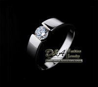 Fashion Jewelry Gift 18K White Gold Platinum Plated Zircon Simulated Swiss Diamonds Engagement Wedding Rings For Men Women YJ021