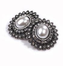 Fashion fashion accessories ol geometry royal punk heavy metal multi-layer gem pearl mix match stud earring