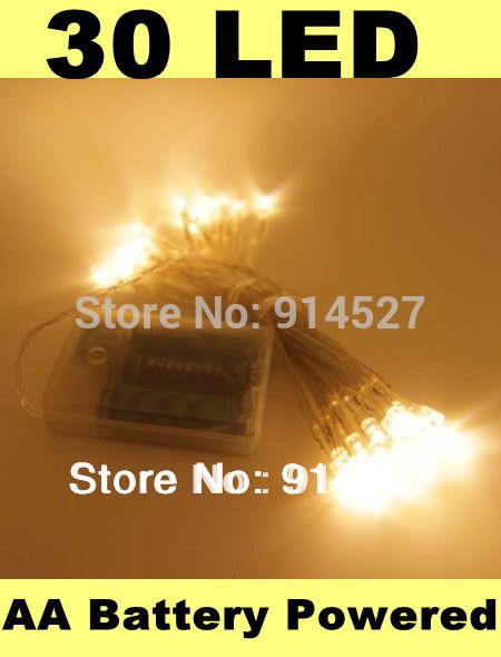 3pcs Free Shipping Indoor Holiday 30 LED Warm White String Lights Battery Operated Christmas Xmas New Year Wedding Decoration(China (Mainland))