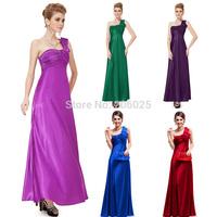 09667 2014 New Fashion Sexy Nwt One Shoulder Ruffles Satin Padded Long Bridesmaid Dress