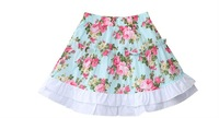 Freeshipping summer Blue Floral Children Girl Kids sweet lovely princess  lace pattern cotton skirt  clothes clothing PDXS42P08