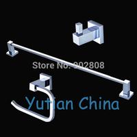Free shipping,Square Brass chrome Bathroom Accessories Set,Robe hook,Paper Holder,Towel Bar,3 pcs/set-wholesale-retail-YT-11000