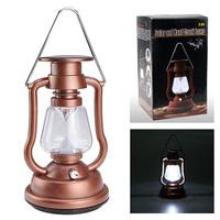 [Amber Color] Solar Cells Panel Lantern Camp  7 LED Bright Light Lamp Outdoor Hand Crank