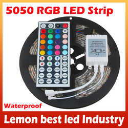 Holiday party lights 5M/roll 300 LED RGB strip SMD 5050 Flexible Waterproof flash with IR Remote 5roll/lot FreeShipping(China (Mainland))