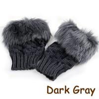 Fashion Winter Arm Warmer Fingerless Gloves, Knitted Fur Trim Gloves Mitten 22