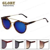 Vintage 2014 New 80's Caffelatte Sunglasses Women Round Shades With Metal Stripe Sun glasses Pilot Oculos De Sol Free Shipping
