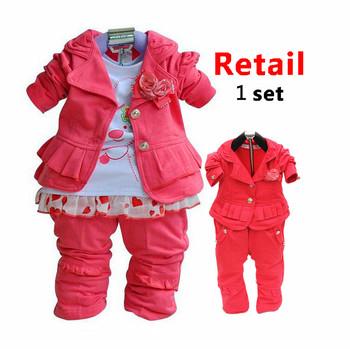 1pc Retail Spring new hot Pink fashion kids suits girls clothes children clothing set: jacket+t shirt+pants 3pcs sets 2014 wear