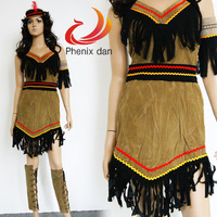 "Free shipping Sexy Womens Halloween Indian Savage Dress Costume ""Sassy Squaw"" S/M/L/XL Makeup Party Dress"