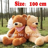 High quality!Stuffed 1 meters teddy bear,Plush toys big embrace doll lovers,3 colors children's christmas presents gifts