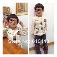 2012 spring and autumn infant piece set suit blazer children's cotton coat+T-shirt+pants set baby boy/kid Free shiping