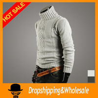 Free Shipping Fashion Men's 2013 New High Collar Winter Sweater Men's Brand Slim Fit Cardigan Casual Sweater Size: M~XL X-406