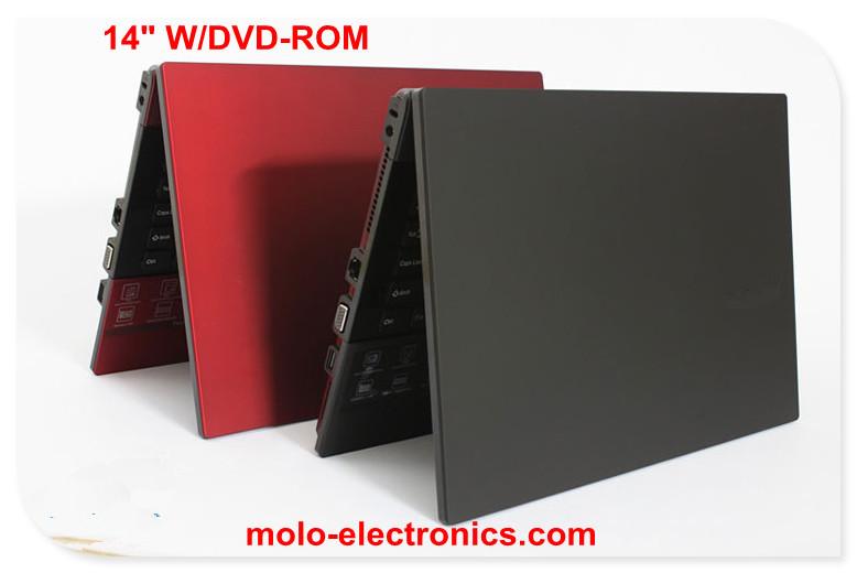 14inch laptop computer built-in DVD ROM RW Intel Celeron dual core 640GB HDD W/optional 8GB RAM free shipping(China (Mainland))