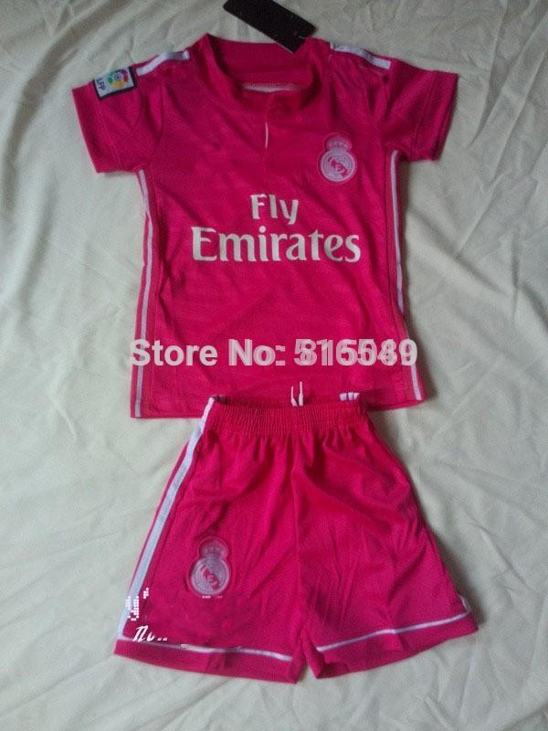 2014-2015 Real Madrid Away green Football Jerseys kids/boy youth/child Soccer Jersey Uniforms Shirts kit