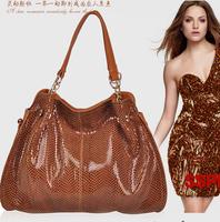 French Design Brand WD POLO Big Clutch Retro Shoulder Bag,Fashion Women's Snakeskin Genuine Leather Handbags,Free Shipping SJ025