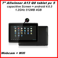 2013 Top selling NO.1 New 7inch Android 4.0 MID Q88 Allwinner A13 Q88 Tablet PC Capacitive Screen+Camera+WIFI 512MB 4GB