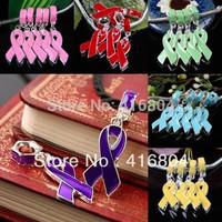 1Lot (50Pc) Bulk Lots Enamel Ribbon Cancer Breast AIDS AWARENESS Dangle European Beads Charm