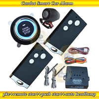 Russian Manual! new intergrated PKE car alarm,one key start,finger touch start/stop,remote start/stop,auto lock or unlock