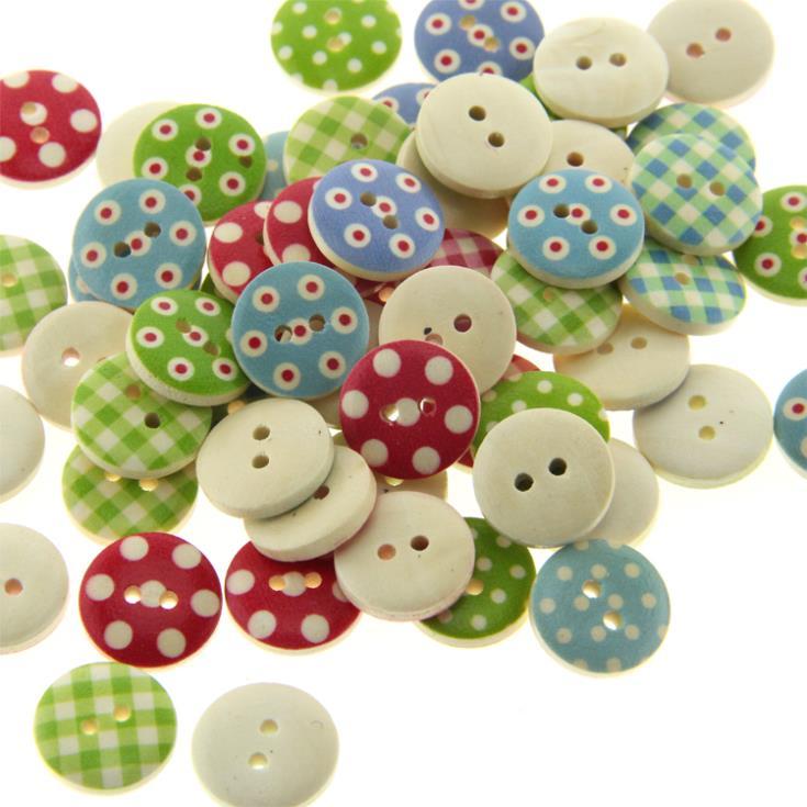 200 Mixed Multicolor 15mm polka dot small polka dot rustic plaid handmade diy accessories small wooden buttons(AYB15201 X 1))(China (Mainland))