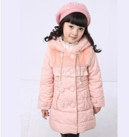 2013 winter new sweet keep warm hot-selling child down coat comfortable cartoon medium-long girl child down coat free shipping