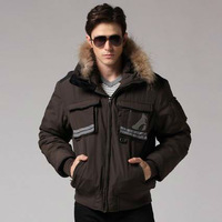 Freeshipping autumn winter black coffee man men male Korean version thickened detachable hooded cotton liner jacket coat  WM500