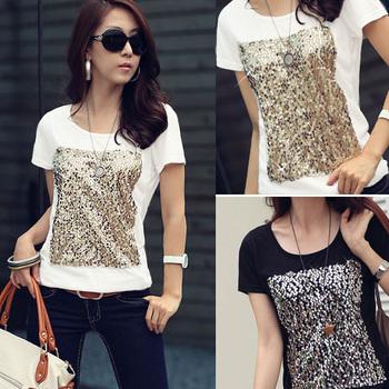 2015 New Summer T Shirt Women Clothing Short Sleeve Crew Neck Sequin Print T-Shirt Ladies Black White Top Tee Free Shipping 0292