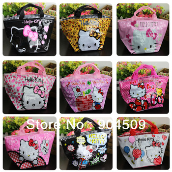 10pcs/lot Wholesale Hello Kitty Tote Lunch box bento bag Handbags sac pink or multicolor cartoon #1005 SENT OUT BY RANDOM
