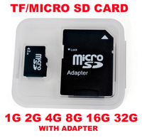 Free shipping 1GB 2GB 4GB 8GB 16GB 32GB MicroSD Micro SD HC Transflash TF CARD WITH FREE GIFT SD ADAPTER