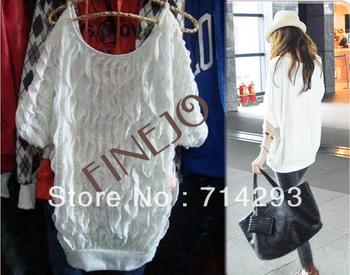 2013 New Women Off Shoulder Wave Batwing Tops Fashion long T-shirt 2 Colors free shipping 3571