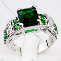 sz6 7 8 9 10 Jewellery Brand new fashion emerald Zircon ring 14KT white Gold plated Ring women and men rings