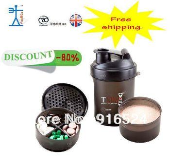 Free Shipping  +Discount The New   Black 3 In 1  Protein Powder Shaker Bottle,Water Bottle,Sports Bottle +  600ML