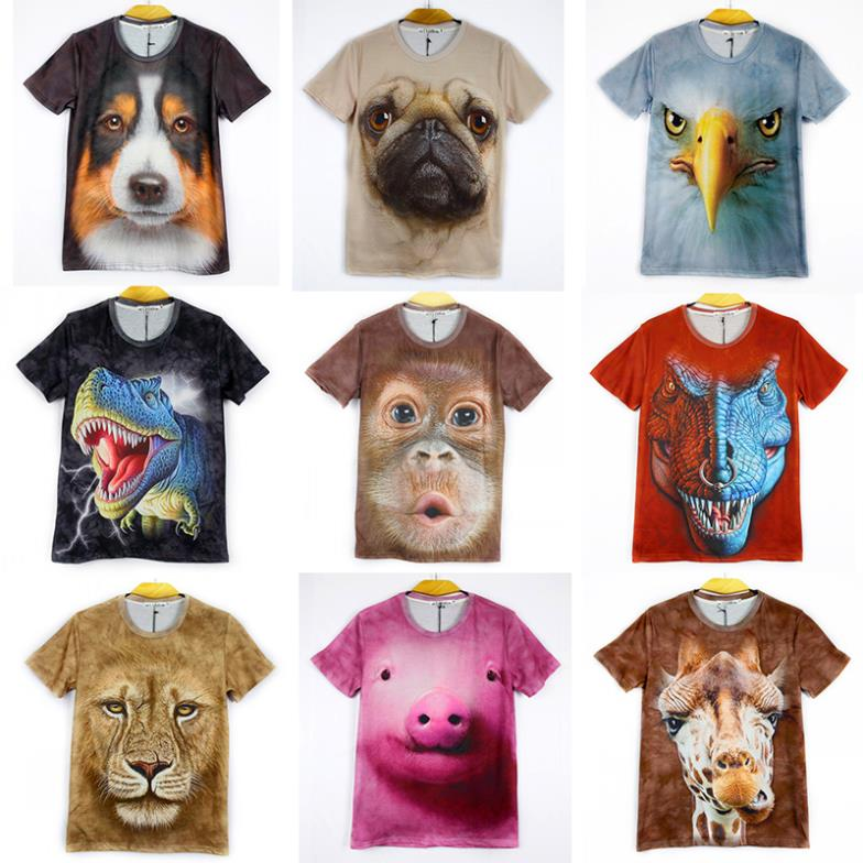 Two-side Factory SALE!! women/men leopard/lion skull/animal Funny 3D T shirt tee tiger/cat/dog/wolf 3d top tee M-XXL(China (Mainland))