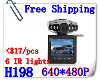 Free Shipping H198 Car Dvr With Night Vision 6IR Lights Cycle Recording+Retail Box(P-02C)