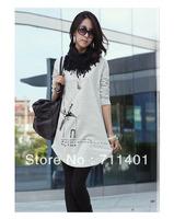 Hot! New Korean Women's loose purified cotton T Shirt  Elastic long Sleeve O-Neck 3 Colors free shipping
