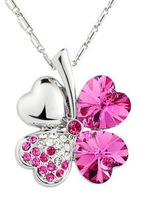 Korean Version Of The Second Generation Of Clover Necklace Austrian crystal Pendant Small Jewelry Gift XLC15