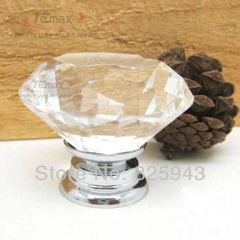 4PCS 40mm Clear Crystal Knobs Furniture Bedroom Kitchen Cabinet Knobs And Handles Dresser Drawer Pulls
