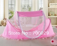 E-HOME Free Shipping Dot laciness thin baby mosquito net bed baby folding mosquito net pillow music bag mosquito net bed 12C08B