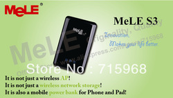 Mele S3 Network Storage and Wireless AP with 2600mAh Lithuim Battery of Power Bank for iPhone iPad Smart Phones(China (Mainland))