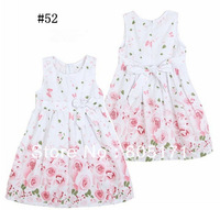 90-140cm.girl summer cotton flower print dress ,princess party evening floral one piece kids children girls kid clothing pink,