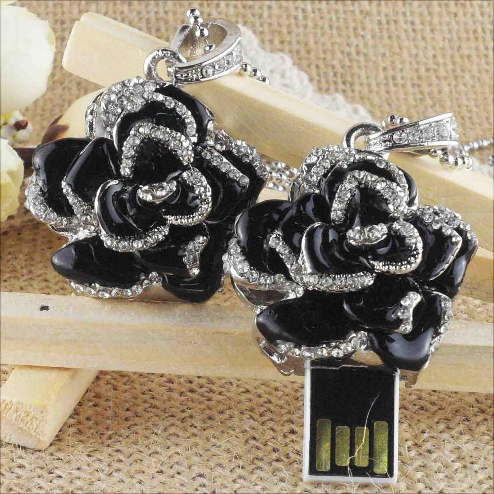 Free shipping retail/wholesale/dropshipping black rose Flash Memory Jewelry usb flash drives 2gb4gb 8gb 16gb Usb Pendrive F-H025
