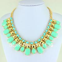 2013 New Arrival Fashion Gold Chunky Choker BIb Statement Necklaces for women KK-SC073 Retail