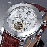 Classic Luxury KS Tourbillon Silver Stainless Steel Case Brown Leather Band Date Auto Mechanical Men's Dress Wrist Watch / KS020