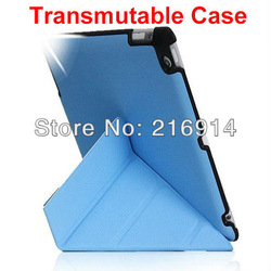 Free Shipping Transmutable Case with Smart Cover for ipad 2 3 4 Embossed Hard Shell Anti- skid Rubber protection case For iPad 4(China (Mainland))