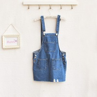 Free shipping New Fashion Denim suspender skirt  overalls Casual Women Dresses