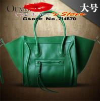 FREE SHIPPING Wholesale women leather handbags green smiley bag leather lady messenger bag famous brand designer leather handbag