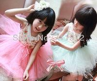 NEW Girls' Floral Cotton braces dresses Kids 6 layer yarn super beautiful princess vest dress children's clothes